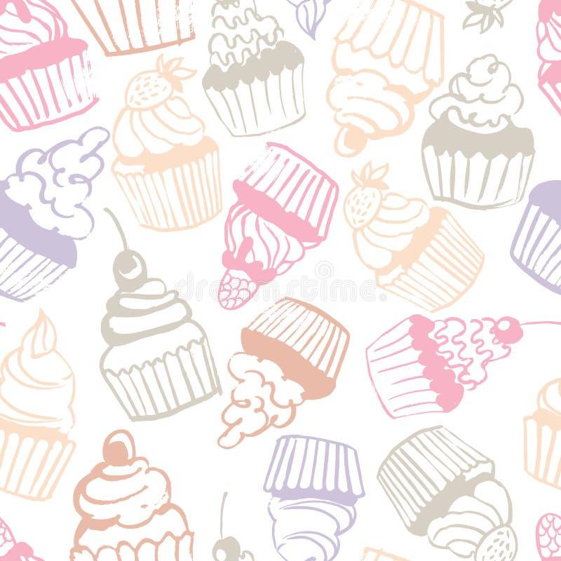 Χέρι που σύρεται cupcakes άνευ ραφής διάνυσμα προτύπων διανυσματική απεικόνιση