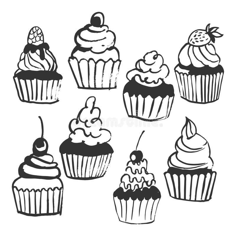 Χέρι που σύρεται cupcakes Διανυσματική απεικόνιση σκίτσων ελεύθερη απεικόνιση δικαιώματος