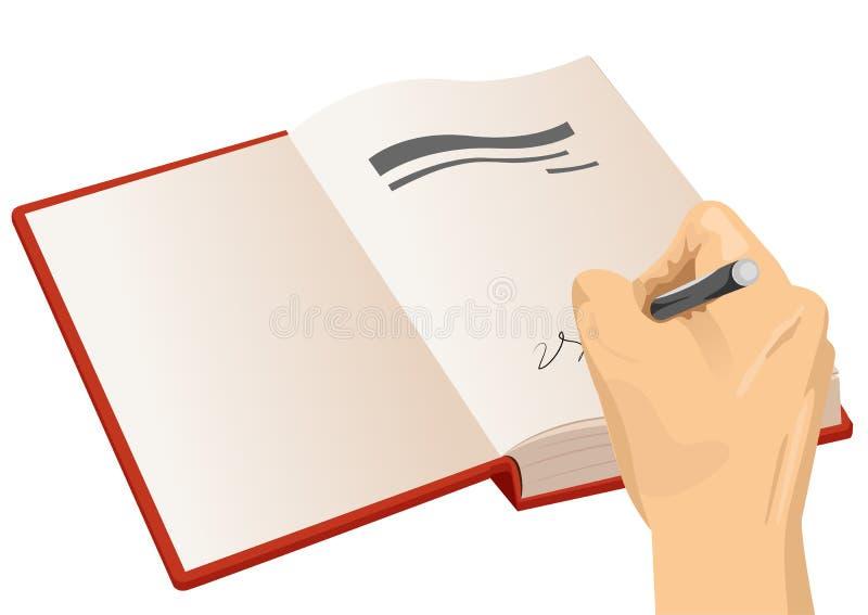 Χέρι που υπογράφει την πρώτη σελίδα ενός hardcover διανυσματική απεικόνιση