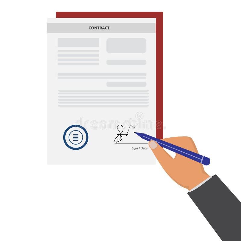 Χέρι που υπογράφει τη σύμβαση στο άσπρο υπόβαθρο απεικόνιση αποθεμάτων