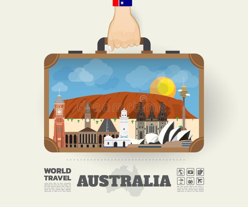 Χέρι που φέρνει της Αυστραλίας ταξίδι και το ταξίδι ορόσημων το σφαιρικό απεικόνιση αποθεμάτων