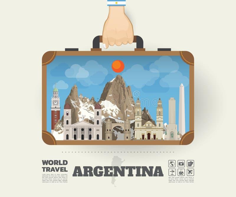 Χέρι που φέρνει το σφαιρικό ταξίδι και το ταξίδι Infog ορόσημων της Αργεντινής απεικόνιση αποθεμάτων