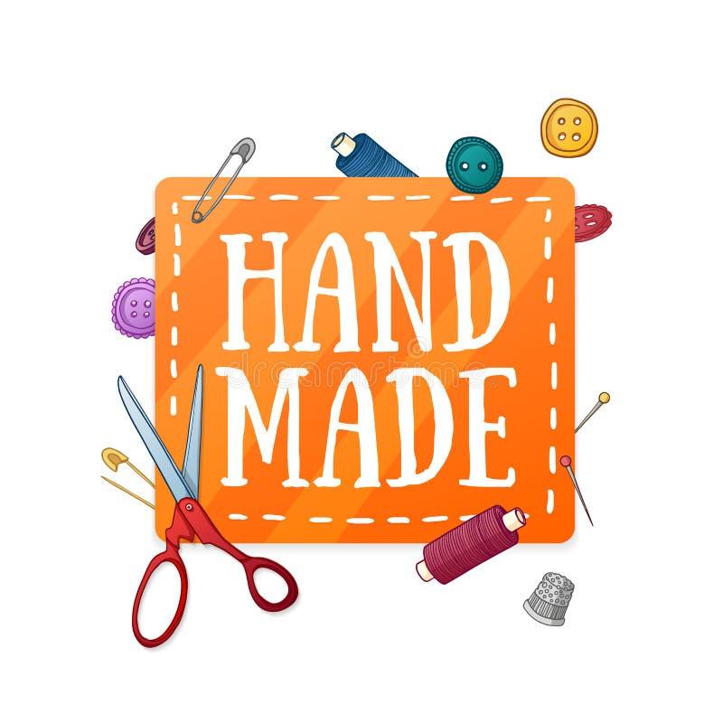 Χέρι προτύπων σχεδίου εμβλημάτων - που γίνεται Το μπάλωμα χρώματος με το ντεκόρ των ιδιοτήτων ραψίματος Πλαίσιο των κουμπιών, ψαλ στοκ εικόνες