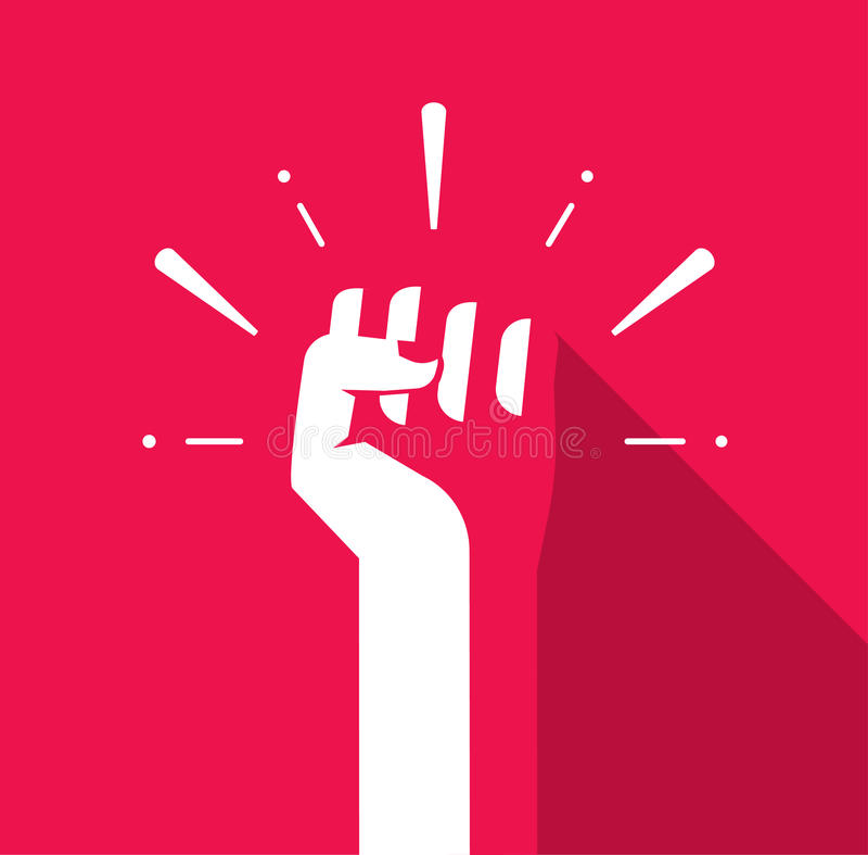 Χέρι πυγμών επάνω στο διάνυσμα, λογότυπο επαναστάσεων, σύμβολο ελευθερίας, σοβιετικό διανυσματική απεικόνιση