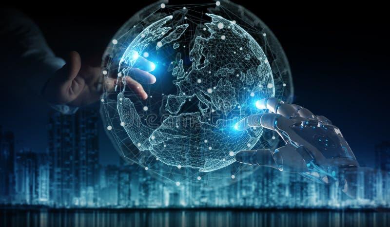 Χέρι ρομπότ και ανθρώπινο χέρι σχετικά με την ψηφιακή παγκόσμια τρισδιάστατη απόδοση διανυσματική απεικόνιση