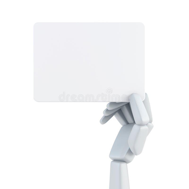 Χέρι ρομπότ και κενή επαγγελματική κάρτα λαβής διανυσματική απεικόνιση
