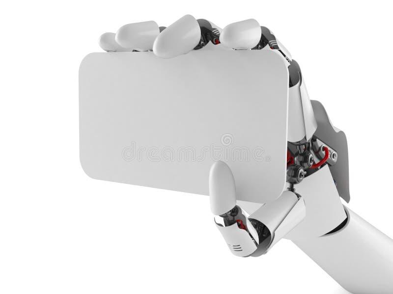 Χέρι ρομπότ με την κενή επαγγελματική κάρτα ελεύθερη απεικόνιση δικαιώματος