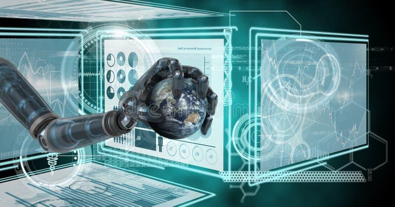 Χέρι ρομπότ που αλληλεπιδρά με τις επιτροπές διεπαφών τεχνολογίας που κρατούν το πλανήτη Γη ελεύθερη απεικόνιση δικαιώματος