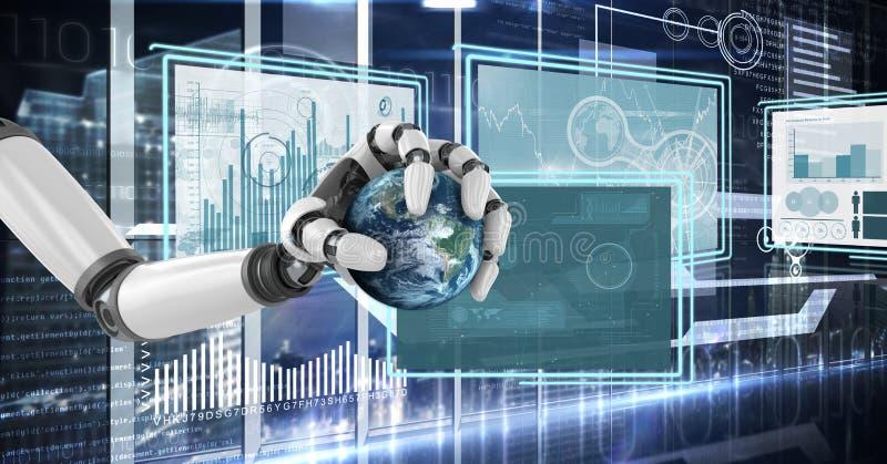 Χέρι ρομπότ που αλληλεπιδρά με τις επιτροπές διεπαφών τεχνολογίας που κρατούν τον πλανήτη διανυσματική απεικόνιση