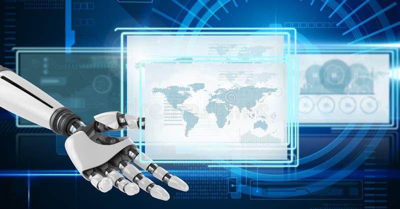 Χέρι ρομπότ που αλληλεπιδρά με τις επιτροπές διεπαφών τεχνολογίας ελεύθερη απεικόνιση δικαιώματος