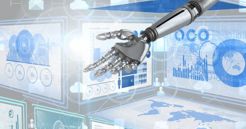 Χέρι ρομπότ που αλληλεπιδρά με τις επιτροπές διεπαφών τεχνολογίας διανυσματική απεικόνιση