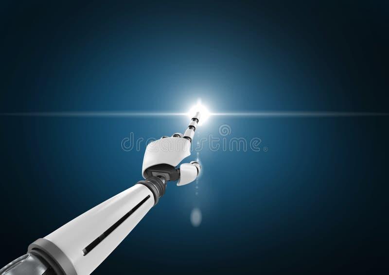 Χέρι ρομπότ σχετικά με το άσπρο φως στο σκούρο μπλε κλίμα απεικόνιση αποθεμάτων