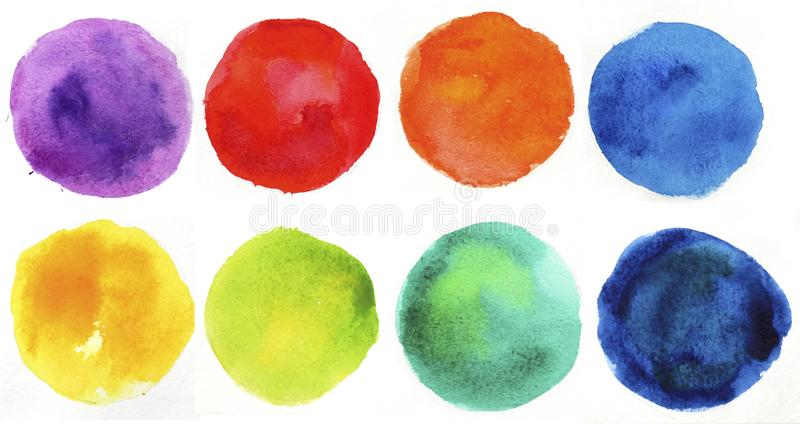 χέρι στοιχείων σχεδίου κύκλων - γίνοντα ο ίδιος χρωματισμένο watercolor μορφής διανυσματική απεικόνιση