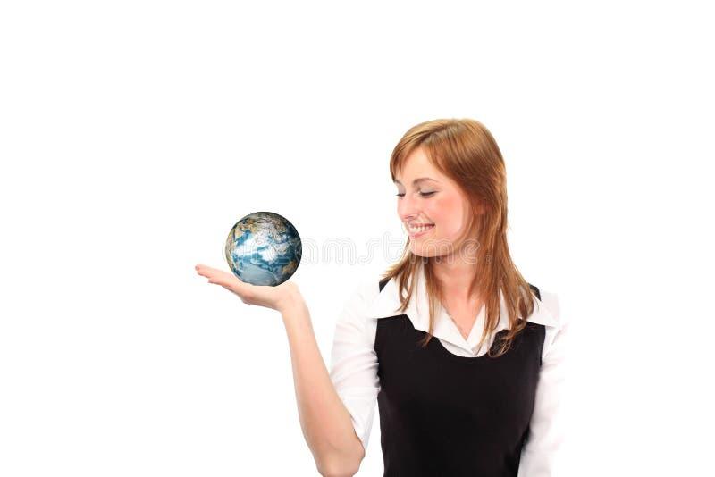 χέρι σφαιρών η jolding γυναίκα της στοκ φωτογραφία με δικαίωμα ελεύθερης χρήσης