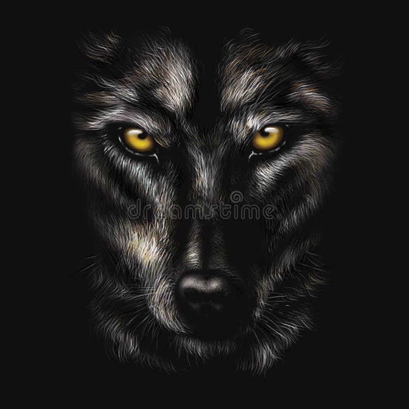 Χέρι-σχεδιασμός του πορτρέτου ενός μαύρου λύκου διανυσματική απεικόνιση