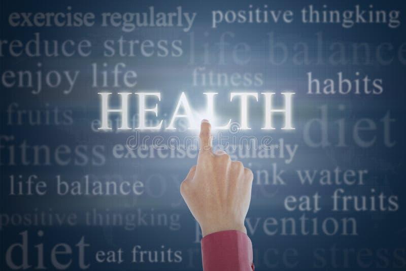 Χέρι σχετικά με την κατεύθυνση ζωής υγείας στοκ εικόνα
