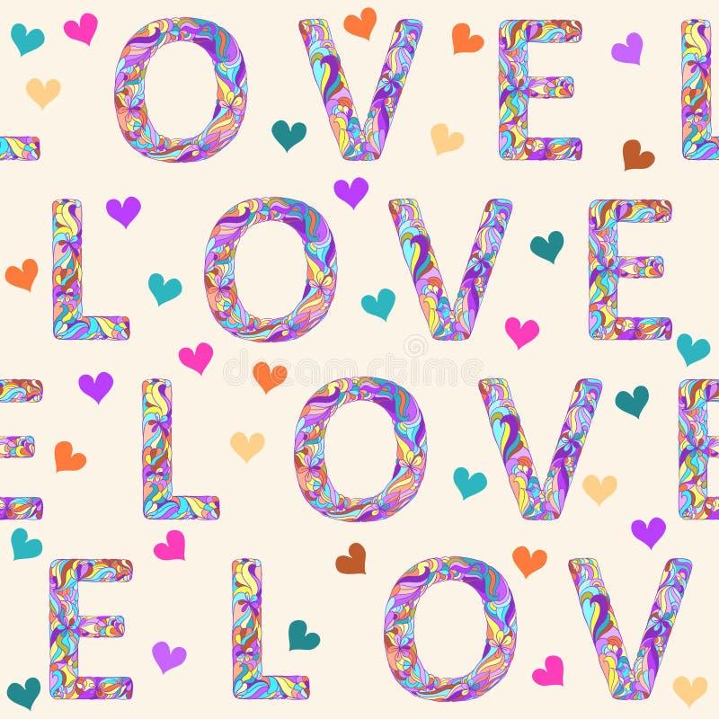 Χέρι-σχεδιασμός του άνευ ραφής υποβάθρου σχεδίων με τη φωτεινή χρωματισμένη ετερόκλητη λέξη αγάπης και των καρδιών για την ημέρα  διανυσματική απεικόνιση