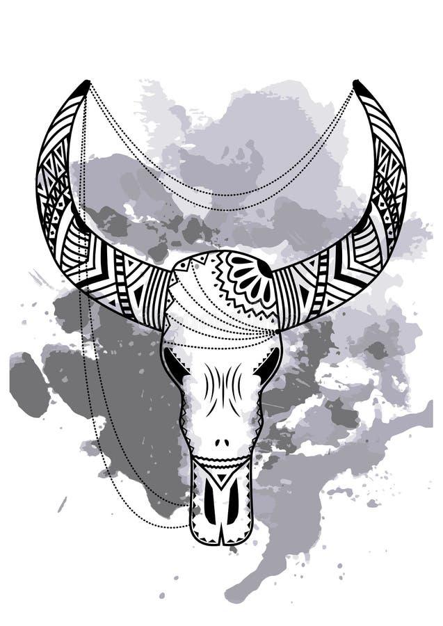 Χέρι τέχνης γραμμών που επισύρει την προσοχή το μαύρο κρανίο ταύρων που απομονώνεται στο άσπρο υπόβαθρο με τους λεκέδες watercolo διανυσματική απεικόνιση