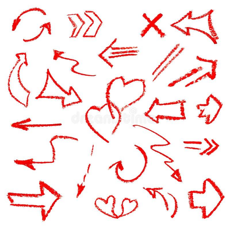 Χέρι - τα γίνοντα σημάδια βελών θέτουν απομονωμένος στο άσπρο υπόβαθρο απεικόνιση αποθεμάτων