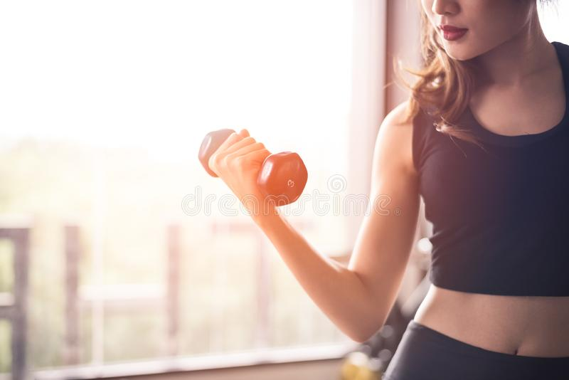 Χέρι του ανυψωτικού αλτήρα αθλητριών για την κατάρτιση βάρους κοντά στο παράθυρο από δεξή για την άντληση του μυός δικέφαλων μυών στοκ φωτογραφία με δικαίωμα ελεύθερης χρήσης