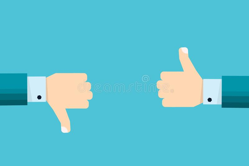 Χέρι του επιχειρηματία με τους αντίχειρες πάνω-κάτω, όπως τα εικονίδια απέχθειας διανυσματική απεικόνιση