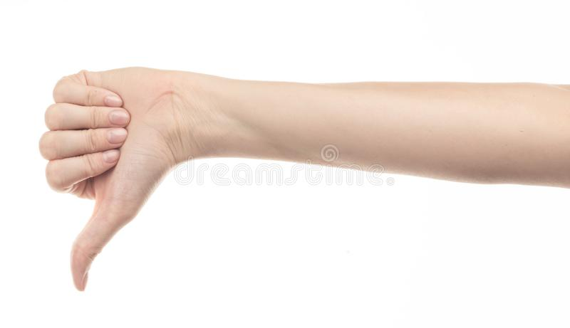 Χέρι του νέου κοριτσιού στο άσπρο υπόβαθρο στοκ εικόνα