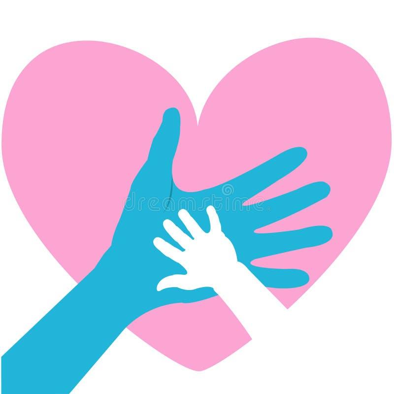 Χέρι του παιδιού και του πατέρα ή του γονέα Ευχετήρια κάρτα ημέρας του ευτυχούς πατέρα ελεύθερη απεικόνιση δικαιώματος