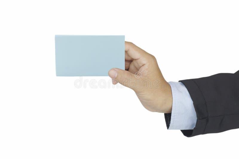 Χέρι του σημαδιού εκμετάλλευσης επιχειρηματιών για την παρουσίαση και τη διαφήμιση των αγαθών και της επιχείρησης στο άσπρο υπόβα στοκ εικόνες
