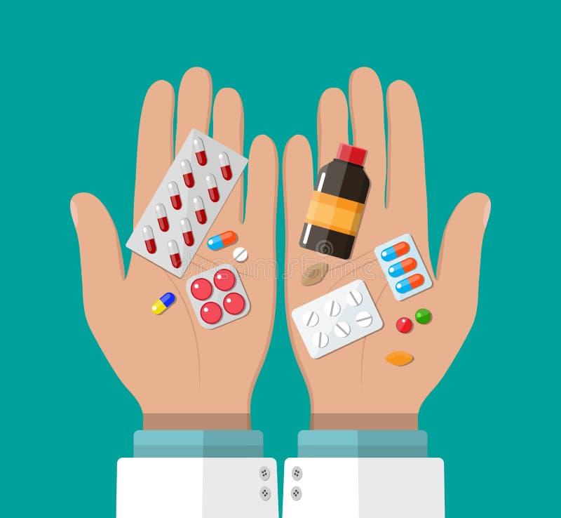 Χέρι του φαρμακοποιού με τα χάπια και τα φάρμακα διανυσματική απεικόνιση