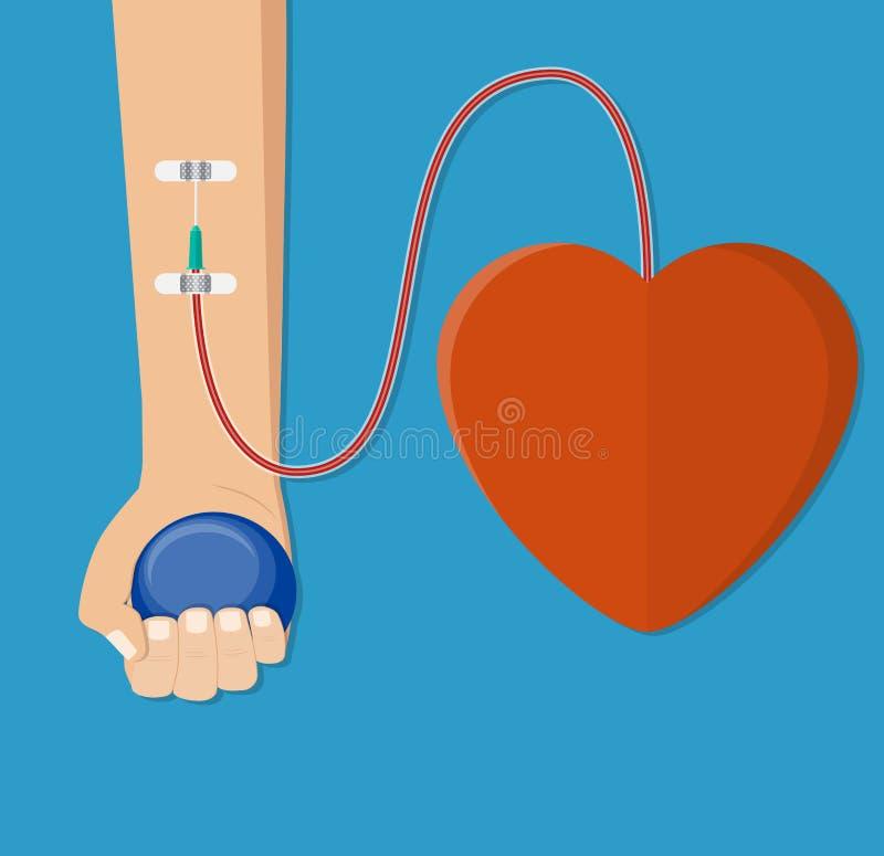 Χέρι του χορηγού με την καρδιά διανυσματική απεικόνιση