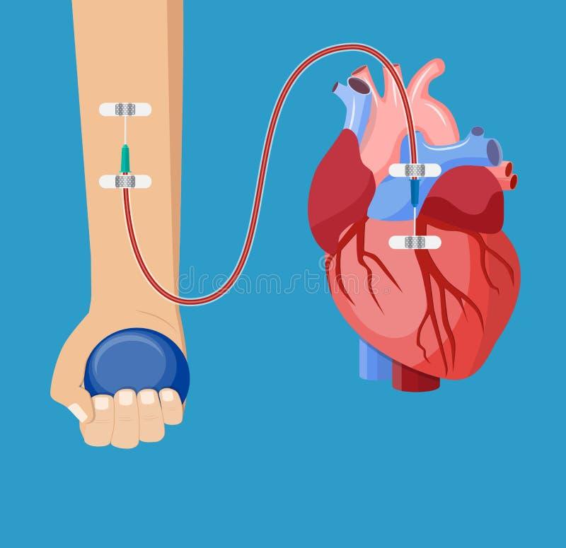 Χέρι του χορηγού με την καρδιά ελεύθερη απεικόνιση δικαιώματος