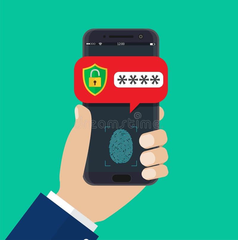 Χέρι το κινητό τηλέφωνο που ξεκλειδώνεται με ελεύθερη απεικόνιση δικαιώματος