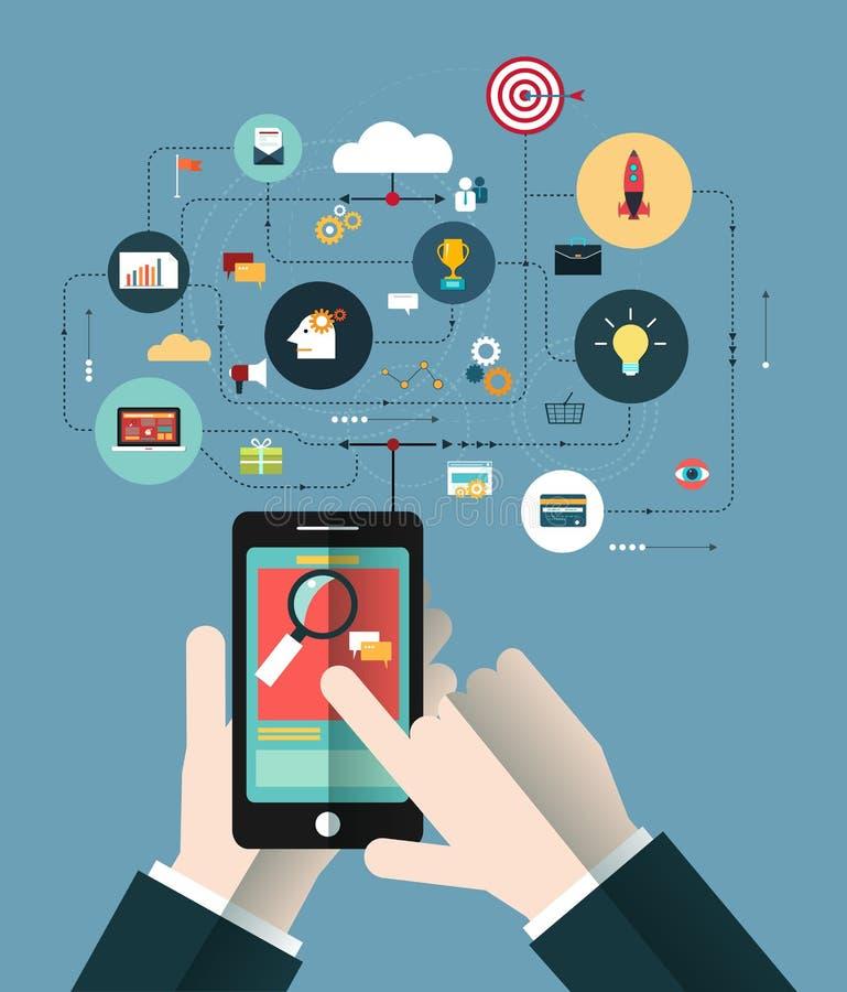 Χέρι των επιχειρηματιών με το τηλέφωνο διανυσματική απεικόνιση