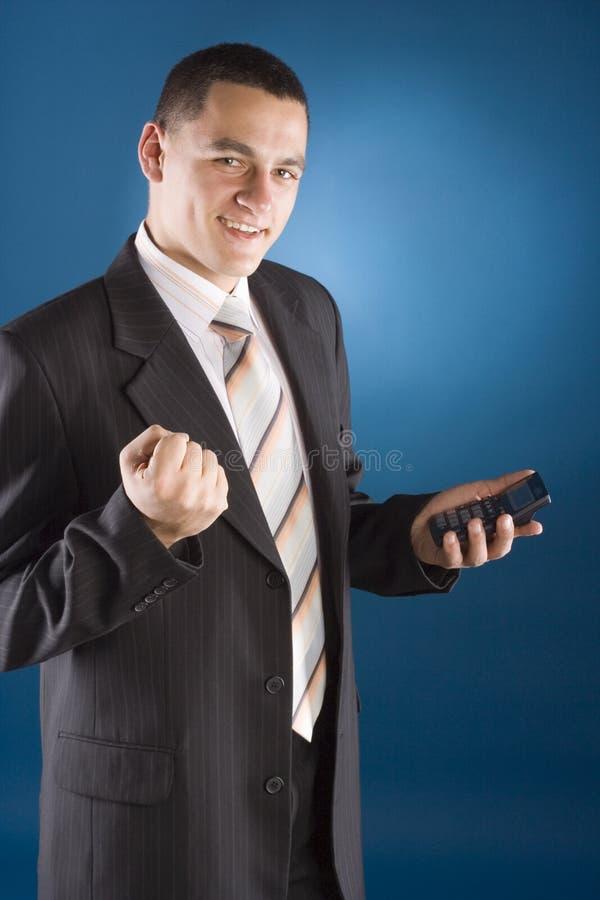 χέρι υπολογιστών επιχειρηματιών ευτυχές δικοί του στοκ εικόνες
