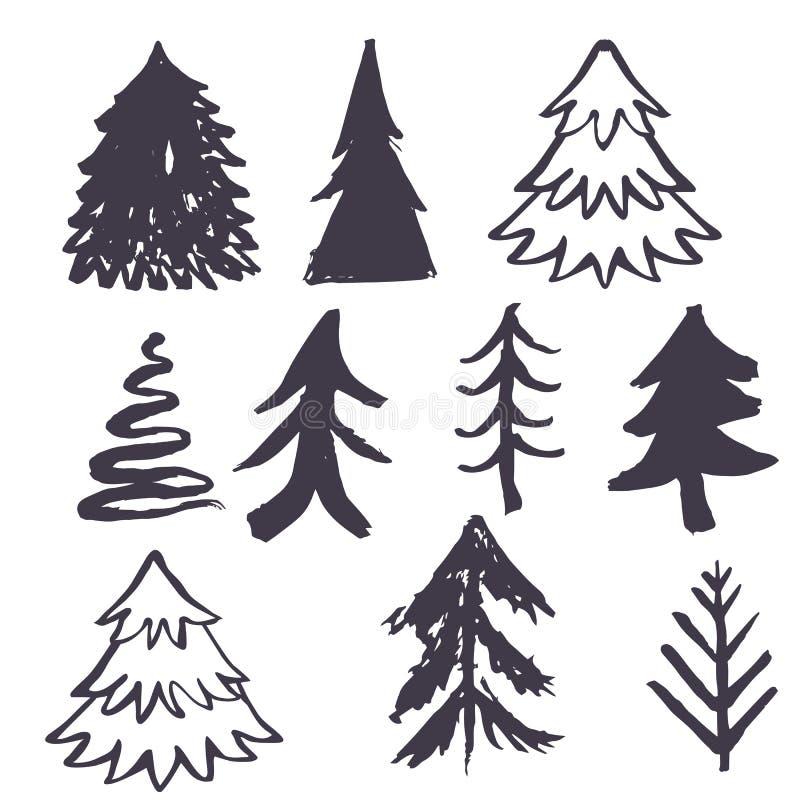 Χέρι χριστουγεννιάτικων δέντρων που σύρεται ελεύθερη απεικόνιση δικαιώματος