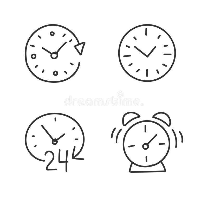 Χέρι χρονικών ξυπνητηριών που σύρεται που σκιαγραφείται Σύνολο εικονιδίων Συρμένος με το χέρι r Περίγραμμα περιλήψεων απεικόνιση αποθεμάτων