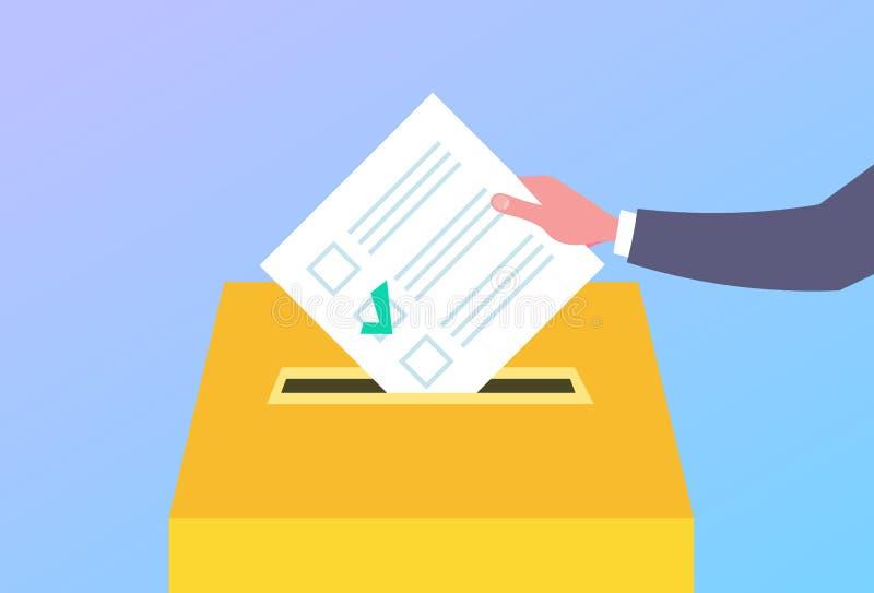 Χέρι ψηφοφόρων έννοιας ημέρας εκλογής που βάζει τον κατάλογο ψήφου εγγράφου στο κιβώτιο κατά τη διάρκεια επίπεδου οριζόντιου ψηφο ελεύθερη απεικόνιση δικαιώματος