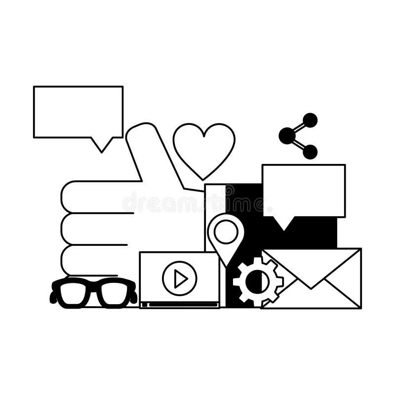 Χέρι όπως ικανοποιημένα κοινωνικά μέσα διανομής ηλεκτρονικού ταχυδρομείου τα τηλεοπτικά διανυσματική απεικόνιση