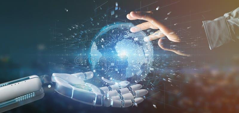 Χέρι Cyborg που κρατά μια σύνδεση γύρω από ένα τρισδιάστατο renderi παγκόσμιων σφαιρών απεικόνιση αποθεμάτων