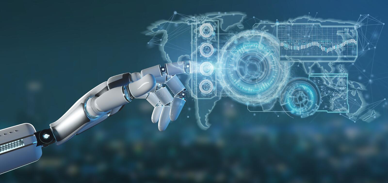 Χέρι Cyborg που κρατά μια τρισδιάστατη απόδοση διεπαφών τεχνολογίας απεικόνιση αποθεμάτων
