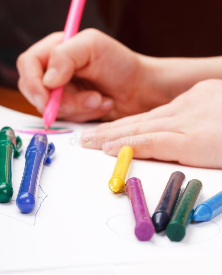 χέρι s σχεδίων παιδιών στοκ εικόνα με δικαίωμα ελεύθερης χρήσης