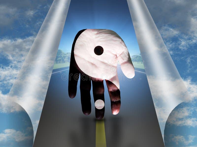 Χέρι Yang Yin Δρόμος διανυσματική απεικόνιση