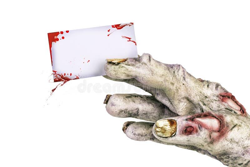 Χέρι Zombie που κρατά μια αιματηρή κενή επαγγελματική κάρτα διανυσματική απεικόνιση