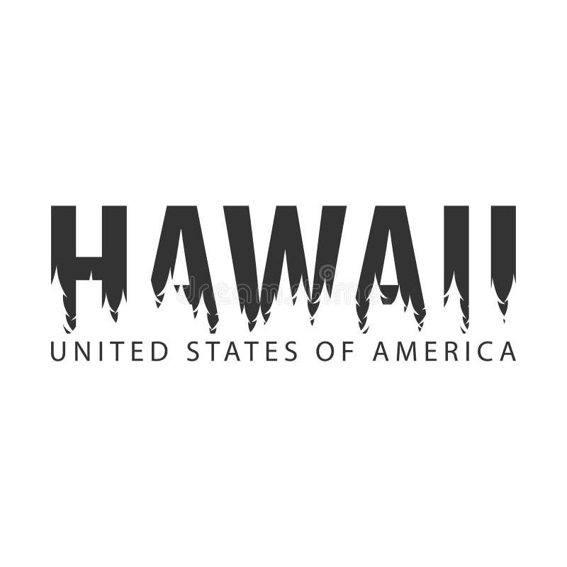 Χαβάη ΗΠΑ η Αμερική δηλώνει ενωμένο Κείμενο ή ετικέτες με τη σκιαγραφία του δάσους ελεύθερη απεικόνιση δικαιώματος