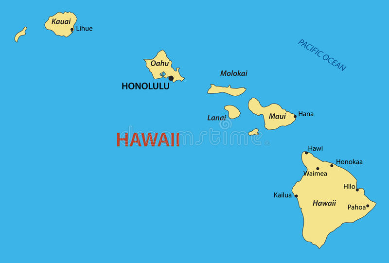 Χαβάη - χάρτης - μια απεικόνιση απεικόνιση αποθεμάτων