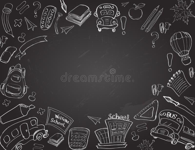 Χαιρετίστε πίσω στις προμήθειες σχολικών τάξεων το σημειωματάριο Doodles απεικόνιση αποθεμάτων