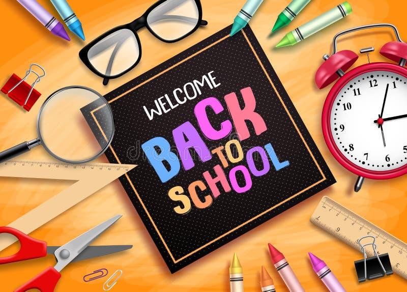 Χαιρετίστε πίσω στο σχολείο το διανυσματικό σχέδιο εμβλημάτων με τις σχολικές προμήθειες, τα εκπαιδευτικά στοιχεία και το μαύρο π απεικόνιση αποθεμάτων