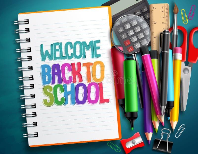 Χαιρετίστε πίσω στο σχολείο το διανυσματικό σχέδιο με τα ζωηρόχρωμα σχολικά στοιχεία, στοιχεία εκπαίδευσης απεικόνιση αποθεμάτων