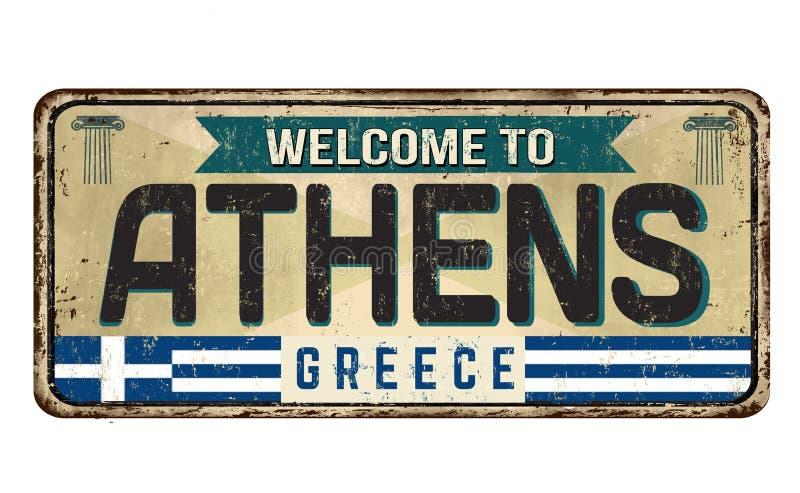 Χαιρετίστε στην Αθήνα το εκλεκτής ποιότητας σκουριασμένο σημάδι μετάλλων απεικόνιση αποθεμάτων