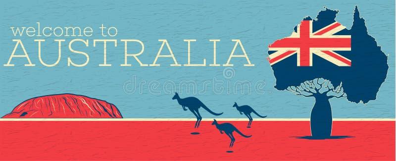 Χαιρετίστε στην Αυστραλία την εκλεκτής ποιότητας αφίσα απεικόνιση αποθεμάτων